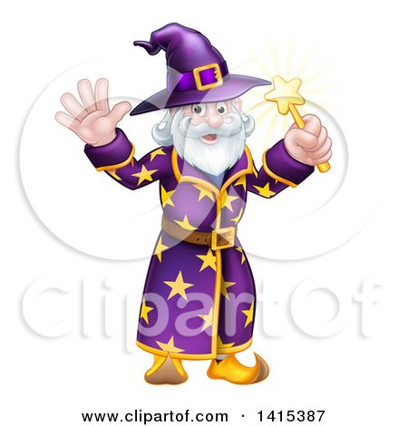 Clipart of a Happy Old Bearded Wizard Waving and Holding up a Magic Wand - Royalty Free Vector Illustration by AtStockIllustration