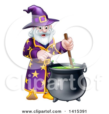Clipart of a Happy Old Bearded Wizard Mixing a Potion - Royalty Free Vector Illustration by AtStockIllustration
