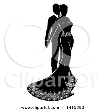 Clipart of a Silhouetted Black and White Posing Bride and Groom - Royalty Free Vector Illustration by AtStockIllustration