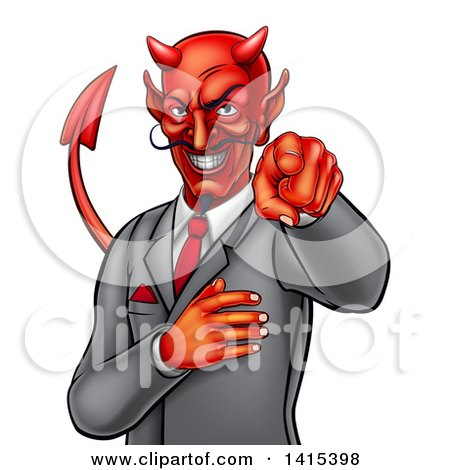 Clipart of a Corrupt Devil Businessman Pointing Outwards, from the Waist up - Royalty Free Vector Illustration by AtStockIllustration