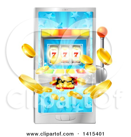 Clipart of a 3d Casino Slot Machine Spitting out Coins from a Smart Phone Screen - Royalty Free Vector Illustration by AtStockIllustration