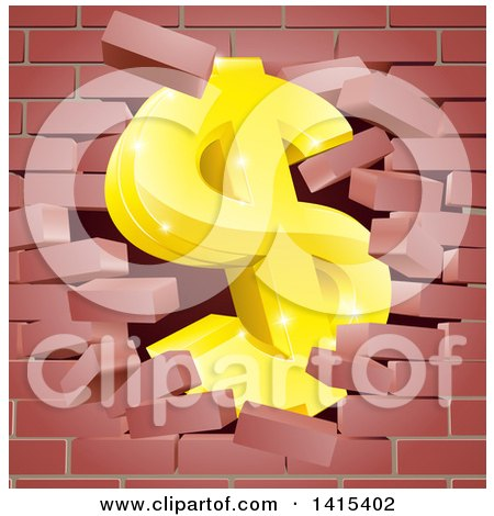Clipart of a 3d Gold Dollar Currency Symbol Breaking Through a Red Brick Wall - Royalty Free Vector Illustration by AtStockIllustration