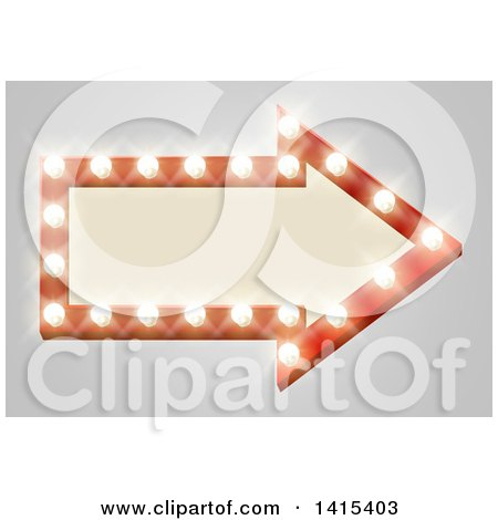 Clipart of a Lit Theater Arrow Shaped Sign with Lights, on Gray - Royalty Free Vector Illustration by AtStockIllustration