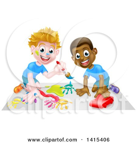 White and Black Boys Painting and Playing with a Toy Car Posters, Art Prints