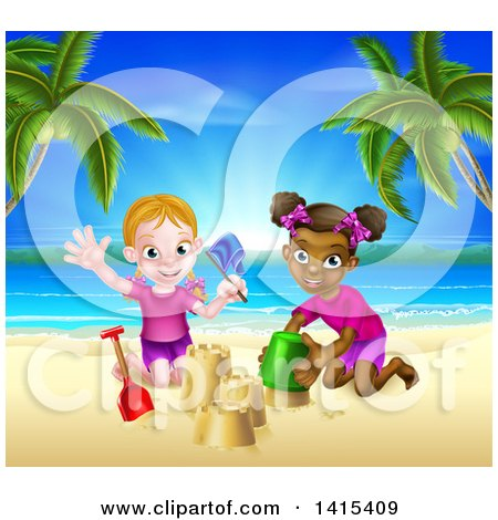 Clipart of Happy White and Black Girls Playing and Making Sand Castles on a Tropical Beach - Royalty Free Vector Illustration by AtStockIllustration