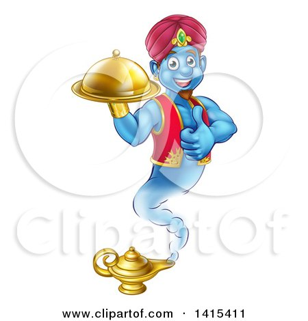 Clipart of a Cartoon Blue Strong Blue Aladdin Genie Floating over a Lamp with a Cloche in Hand, Giving a Thumb up - Royalty Free Vector Illustration by AtStockIllustration