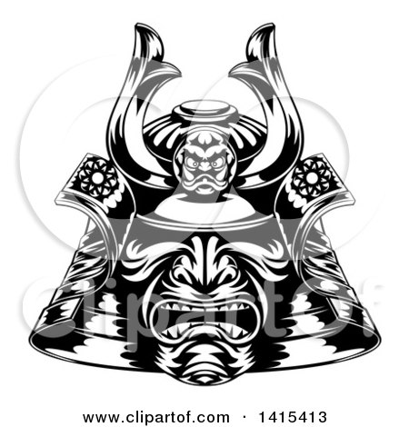 Clipart of a Black and White Samurai Mask - Royalty Free Vector Illustration by AtStockIllustration