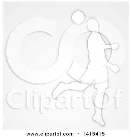 Clipart of a White Silhouetted Male Soccer Player Head Passing a Ball, over Gray - Royalty Free Vector Illustration by AtStockIllustration