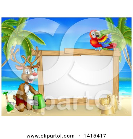 Clipart of a Happy Rudolph Red Nosed Reindeer Making a Sand Castle on a Tropical Beach by a Blank Sign with a Parrot - Royalty Free Vector Illustration by AtStockIllustration