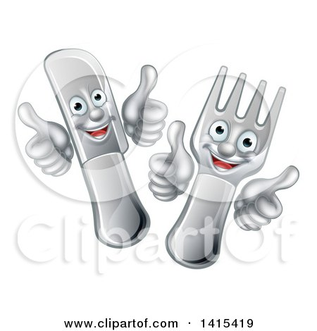 Clipart of a Cartoon Happy Fork and Knife Giving Thumbs up - Royalty Free Vector Illustration by AtStockIllustration