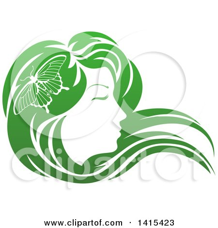 Clipart of a Gradient Green Beatiful Woman's Face in Profile, with Long Hair and a Butterfly - Royalty Free Vector Illustration by AtStockIllustration