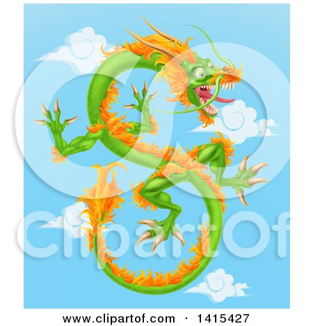 Clipart of a Green and Orange Chinese Dragon Flying in a Blue Sky with Clouds - Royalty Free Vector Illustration by AtStockIllustration