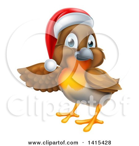 Clipart of a Christmas Robin in a Santa Hat, Pointing to the Left - Royalty Free Vector Illustration by AtStockIllustration