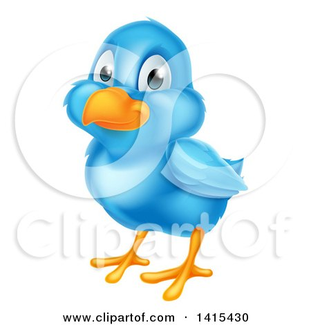 Clipart of a Cute Happy Blue Bird - Royalty Free Vector Illustration by AtStockIllustration