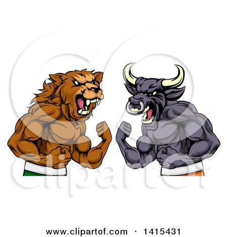 Clipart of a Muscular Brown Bear Man and Bull Ready to Fight, Stock Market Metaphor - Royalty Free Vector Illustration by AtStockIllustration