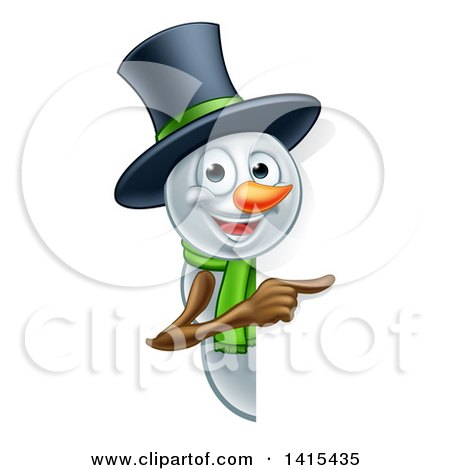 Clipart of a Christmas Snowman Wearing a Green Scarf and a Top Hat, Pointing Around a Sign - Royalty Free Vector Illustration by AtStockIllustration