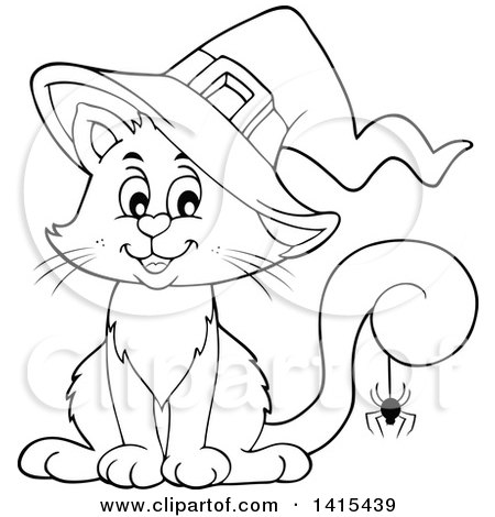 Clipart of a Cute Black and White Lineart Halloween Witch Cat with a Spider on Its Tail - Royalty Free Vector Illustration by visekart