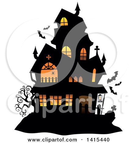 Clipart Of A Lit Haunted Halloween House With Bats Royalty Free Vector Illustration
