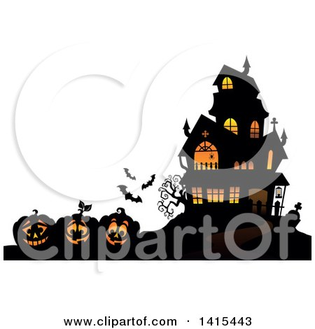 Clipart of a Lit Haunted Halloween House with Bats and Jackolanterns - Royalty Free Vector Illustration by visekart