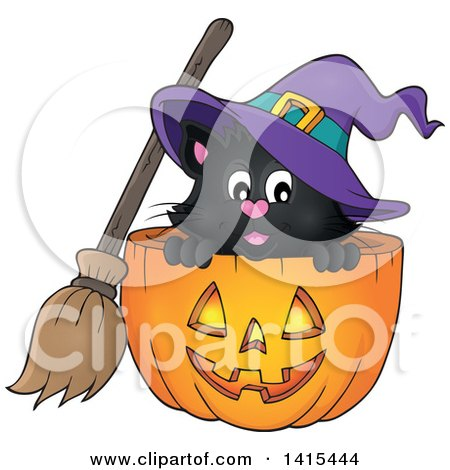Clipart of a Cute Black Halloween Witch Cat in a Jackolantern - Royalty Free Vector Illustration by visekart