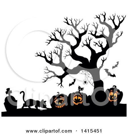 Clipart of a Cat with Lit Jackolanterns in a Cemetery with a Silhouetted Bare Tree - Royalty Free Vector Illustration by visekart