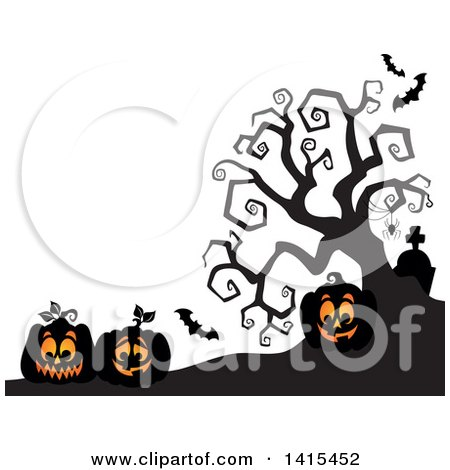 Clipart of Lit Jackolanterns in a Cemetery with a Silhouetted Bare Tree - Royalty Free Vector Illustration by visekart