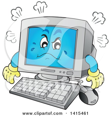 Clipart of a Cartoon Mad Desktop Computer Character - Royalty Free Vector Illustration by visekart