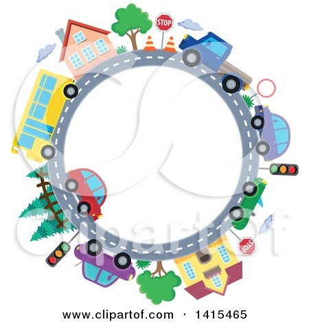Clipart of a Road Circle with a Bus, Homes and Cars - Royalty Free Vector Illustration by visekart