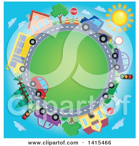 Road Circle with a Bus, Homes and Cars Posters, Art Prints