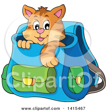 Clipart of a Cute Cat Inside a Backpack - Royalty Free Vector Illustration by visekart