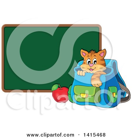 Clipart of a Cute Cat Inside a Backpack by a Blank Chalkboard - Royalty Free Vector Illustration by visekart