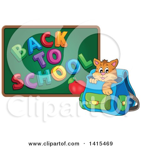 Clipart of a Cute Cat Inside a Backpack by a Back to School Chalkboard - Royalty Free Vector Illustration by visekart