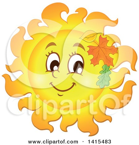 Clipart of a Happy Autumn Sun Character with Leaves - Royalty Free Vector Illustration by visekart