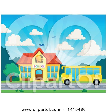 Clipart of a Yellow School Bus in Front of a Building - Royalty Free Vector Illustration by visekart