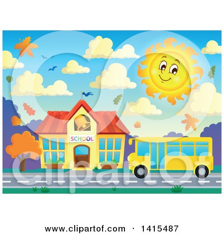 Clipart of a Yellow School Bus in Front of a Building in Autumn - Royalty Free Vector Illustration by visekart