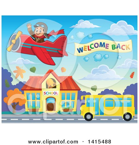 Clipart of a Pilot Flying a Welcome Back Sign over a Yellow School Bus in Front of a Building - Royalty Free Vector Illustration by visekart
