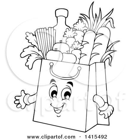 clipart of a black and white lineart grocery bag character