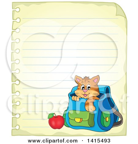 Clipart of a Cute Cat Inside a Backpack on Ruled Paper - Royalty Free Vector Illustration by visekart