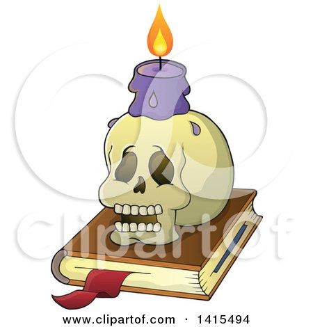 Clipart of a Human Skull and Witch Candle on a Spell Book - Royalty Free Vector Illustration by visekart