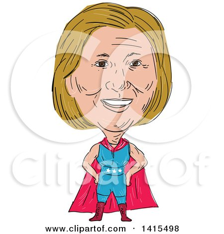 Clipart of a Sketched Caricature of Hillary Clinton in a Super Hero, Wrestler or Luchero Cape - Royalty Free Vector Illustration by patrimonio