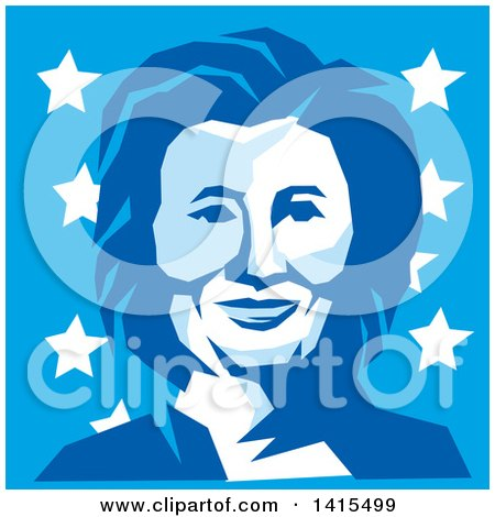 Clipart of a Retro Portrait of Hillary Clinton in Blue Tones, over Stars - Royalty Free Vector Illustration by patrimonio