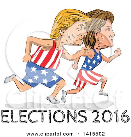 Clipart of Sketched Caricatures of Hillary Clinton and Donald Trump Running for the Presidency with Elections 2016 Text - Royalty Free Vector Illustration by patrimonio