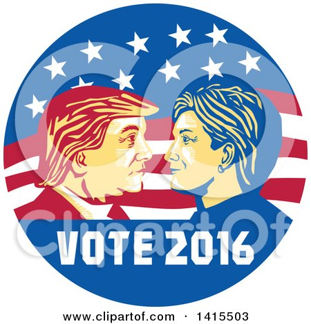 Clipart of a Retro Profile Portrait of Donald Trump and Hillary Clinton Facing off in an American Flag Circle with Text - Royalty Free Vector Illustration by patrimonio