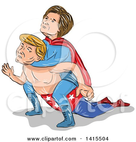 Clipart of a Sketched Caricature of Hillary Clinton Wrestling Donald Trump and Holding Him in a Headlock - Royalty Free Vector Illustration by patrimonio