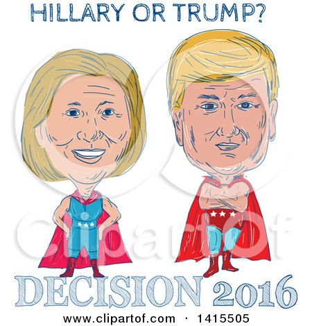 Clipart of Sketched Caricatures of Hillary Clinton and Donald Trump As Wrestlers or Luchadors with Text - Royalty Free Vector Illustration by patrimonio