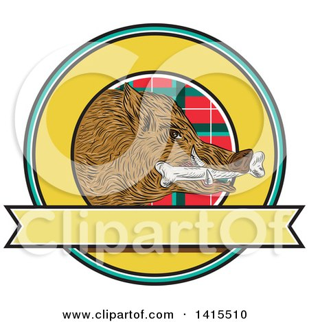 Clipart of a Sketched Wild Boar Pig Head with a Bone in Its Mouth Inside a Circle with Tartan - Royalty Free Vector Illustration by patrimonio