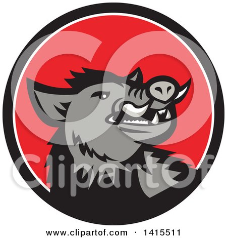 Clipart of a Retro Cartoon Angry Gray Boar in a Black White and Red Circle - Royalty Free Vector Illustration by patrimonio