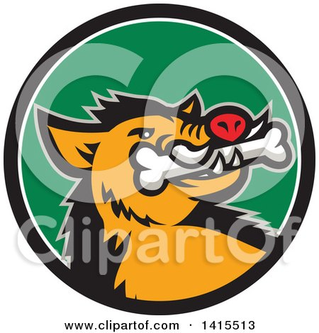 Clipart of a Retro Cartoon Wild Boar Pig with a Bone in Its Mouth, Inside a Black White and Green Circle - Royalty Free Vector Illustration by patrimonio