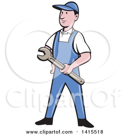 Clipart of a Retro Cartoon White Handy Man or Mechanic Holding a Wrench - Royalty Free Vector Illustration by patrimonio