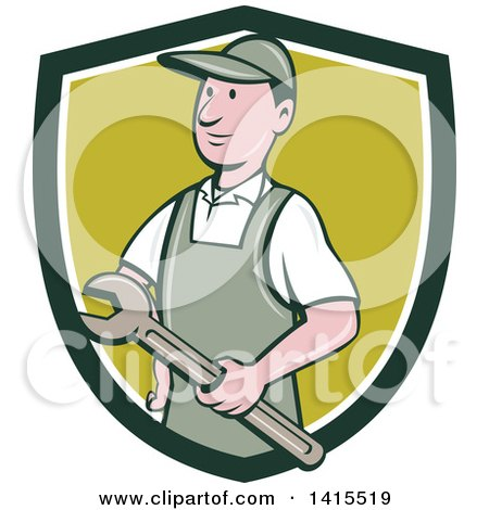 Clipart of a Retro Cartoon White Handy Man or Mechanic Holding a Wrench in a Blue White and Green Shield - Royalty Free Vector Illustration by patrimonio